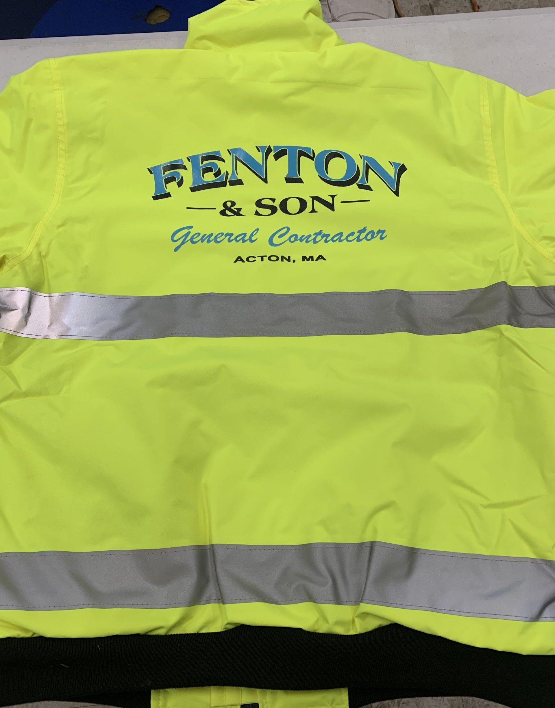 fenton contruction jacket screen printed