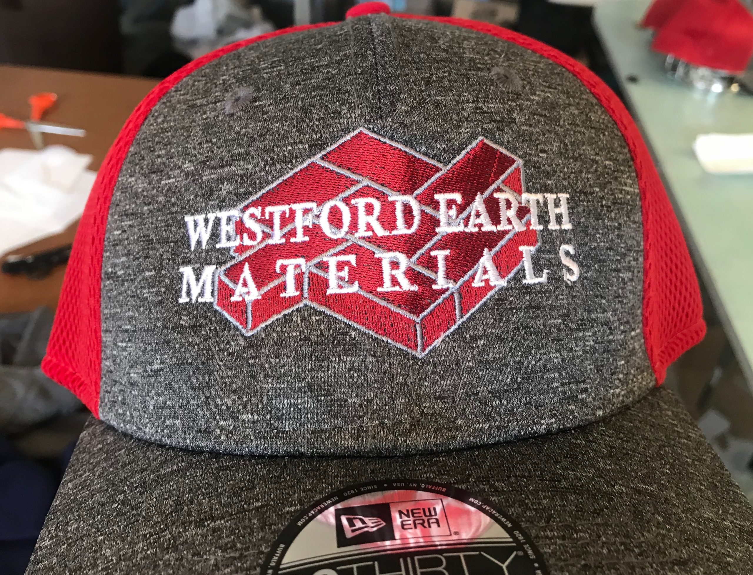 Embroidered flat brim hat